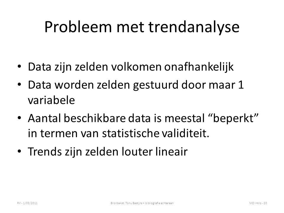 Probleem met trendanalyse Data zijn zelden volkomen onafhankelijk Data worden zelden gestuurd door maar 1 variabele Aantal beschikbare data is meestal