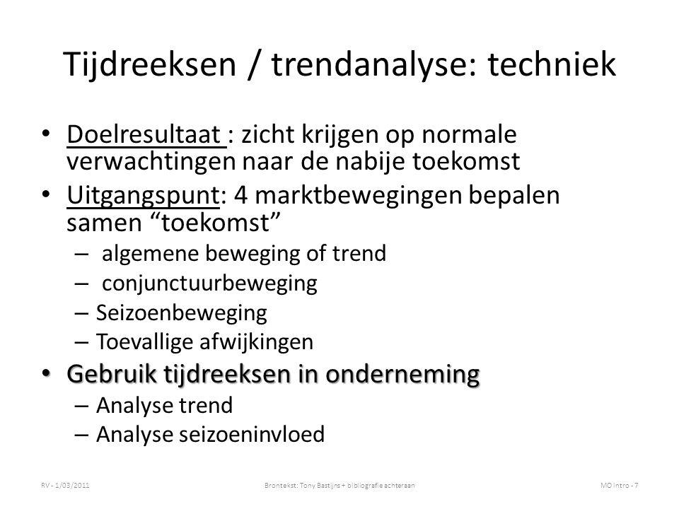 Tijdreeksen / trendanalyse: techniek Doelresultaat : zicht krijgen op normale verwachtingen naar de nabije toekomst Uitgangspunt: 4 marktbewegingen be
