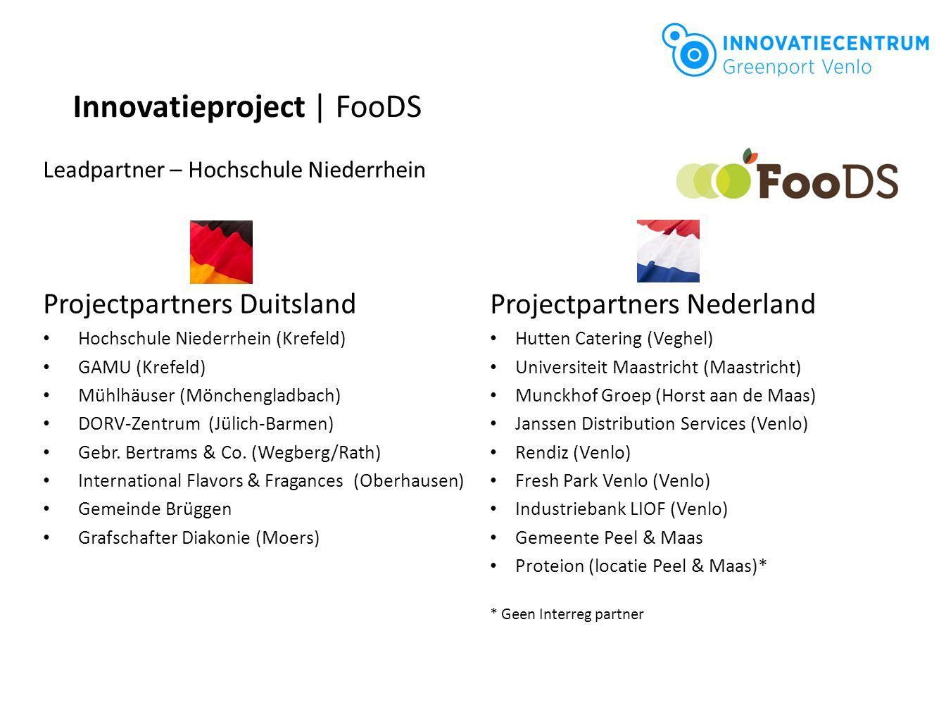 Projectpartners Duitsland Hochschule Niederrhein (Krefeld) GAMU (Krefeld) Mühlhäuser (Mönchengladbach) DORV-Zentrum (Jülich-Barmen) Gebr. Bertrams & C