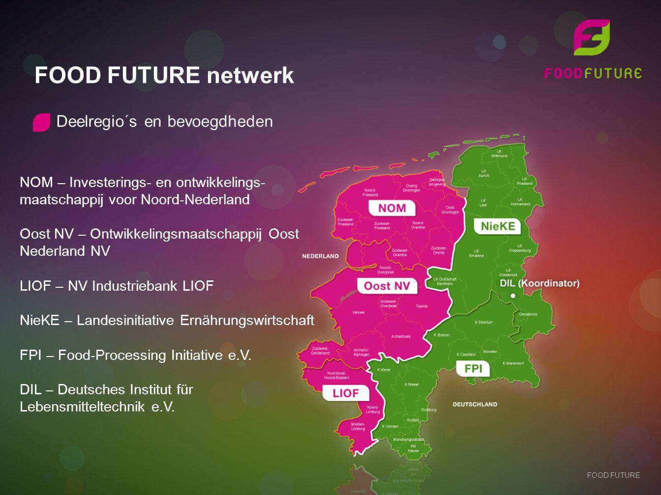 FOOD FUTURE netwerk FOOD FUTURE Deelregio´s en bevoegdheden NOM – Investerings- en ontwikkelings- maatschappij voor Noord-Nederland Oost NV – Ontwikke