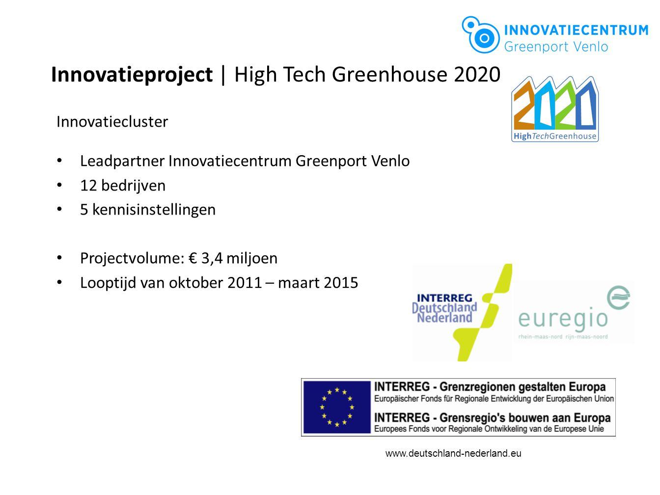 www.deutschland-nederland.eu Innovatieproject | High Tech Greenhouse 2020 Innovatiecluster Leadpartner Innovatiecentrum Greenport Venlo 12 bedrijven 5