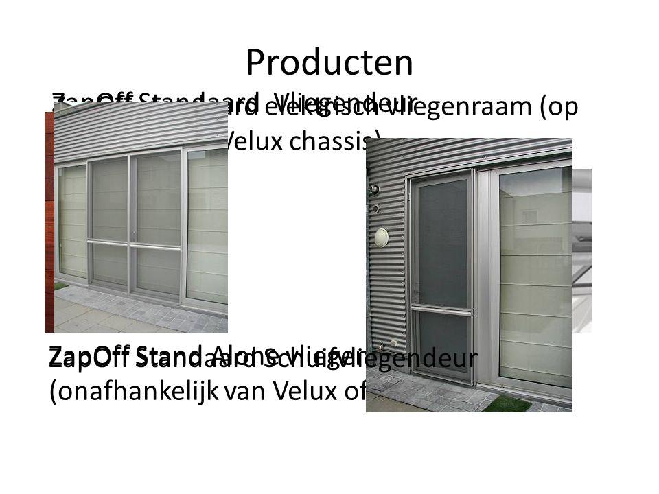 Producten ZapOff standaard elektrisch vliegenraam (op basis van een Velux chassis) ZapOff Stand Alone vliegenraam (onafhankelijk van Velux of ander me