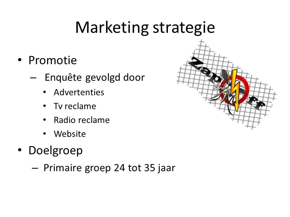 Marketing strategie Promotie – Enquête gevolgd door Advertenties Tv reclame Radio reclame Website Doelgroep – Primaire groep 24 tot 35 jaar