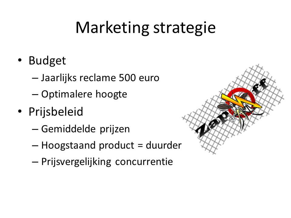 Marketing strategie Budget – Jaarlijks reclame 500 euro – Optimalere hoogte Prijsbeleid – Gemiddelde prijzen – Hoogstaand product = duurder – Prijsver