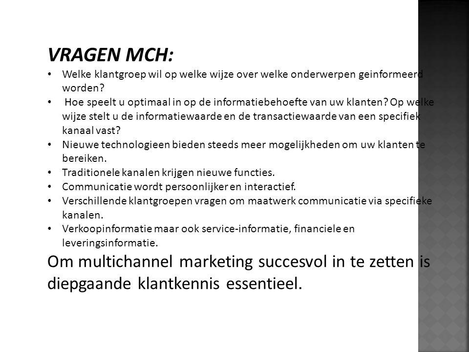 VRAGEN MCH: Welke klantgroep wil op welke wijze over welke onderwerpen geinformeerd worden? Hoe speelt u optimaal in op de informatiebehoefte van uw k