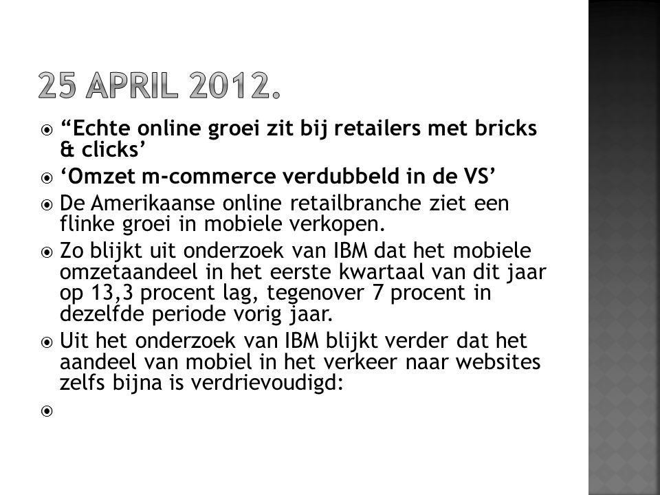 """ """"Echte online groei zit bij retailers met bricks & clicks'  'Omzet m-commerce verdubbeld in de VS'  De Amerikaanse online retailbranche ziet een f"""