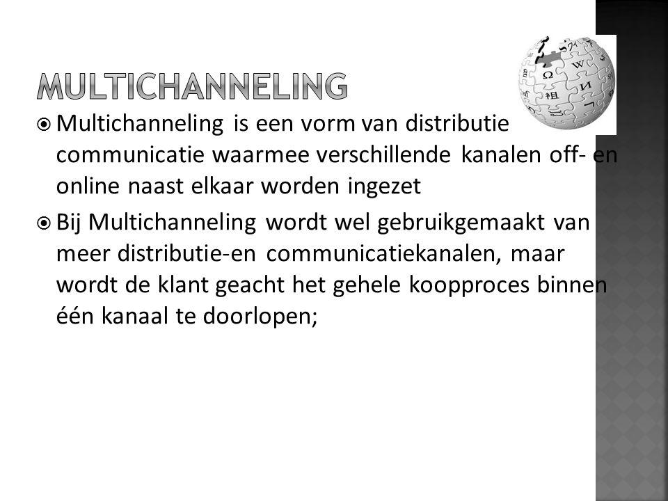  Multichanneling is een vorm van distributie en communicatie waarmee verschillende kanalen off- en online naast elkaar worden ingezet  Bij Multichan