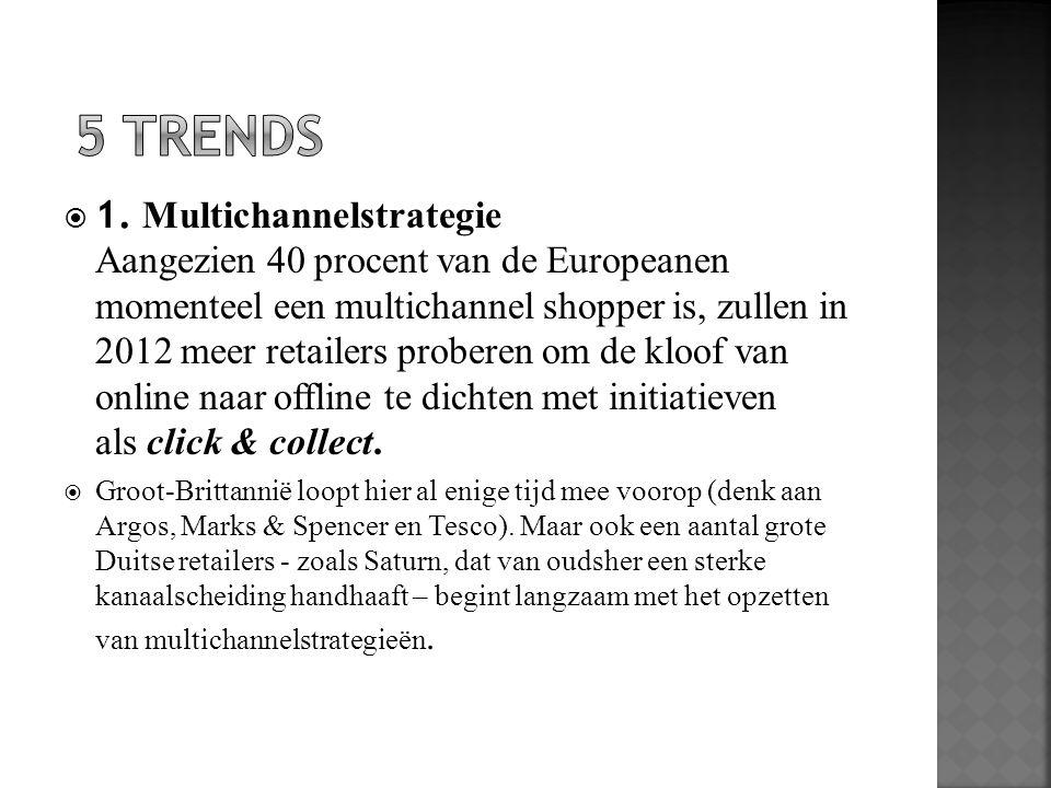  1. Multichannelstrategie Aangezien 40 procent van de Europeanen momenteel een multichannel shopper is, zullen in 2012 meer retailers proberen om de