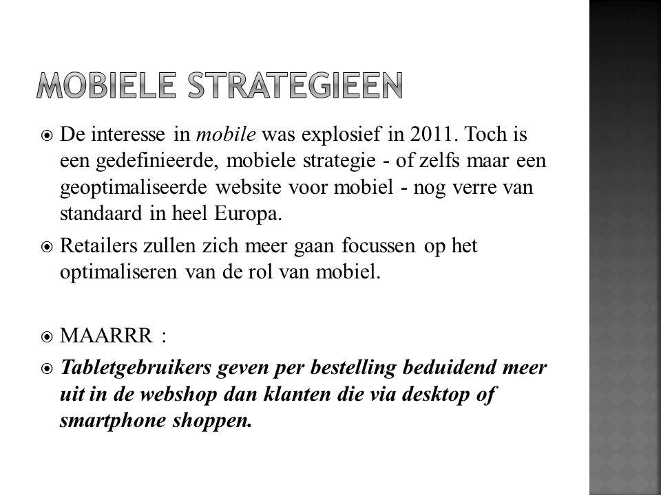  De interesse in mobile was explosief in 2011. Toch is een gedefinieerde, mobiele strategie - of zelfs maar een geoptimaliseerde website voor mobiel