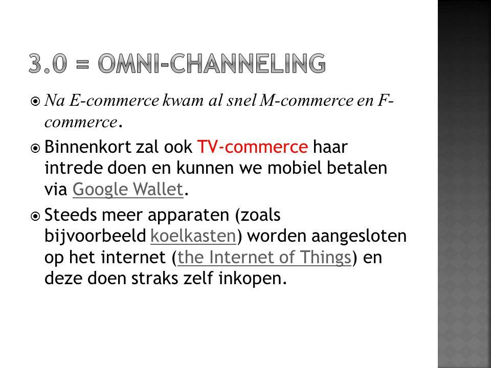  Na E-commerce kwam al snel M-commerce en F- commerce.  Binnenkort zal ook TV-commerce haar intrede doen en kunnen we mobiel betalen via Google Wall
