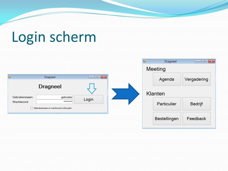 Login scherm