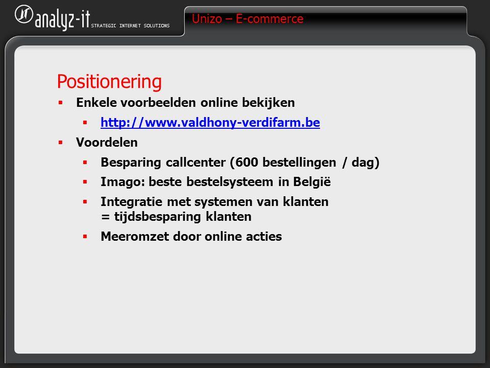 Unizo – E-commerce Positionering  Enkele voorbeelden online bekijken  http://www.valdhony-verdifarm.be http://www.valdhony-verdifarm.be  Voordelen  Besparing callcenter (600 bestellingen / dag)  Imago: beste bestelsysteem in België  Integratie met systemen van klanten = tijdsbesparing klanten  Meeromzet door online acties