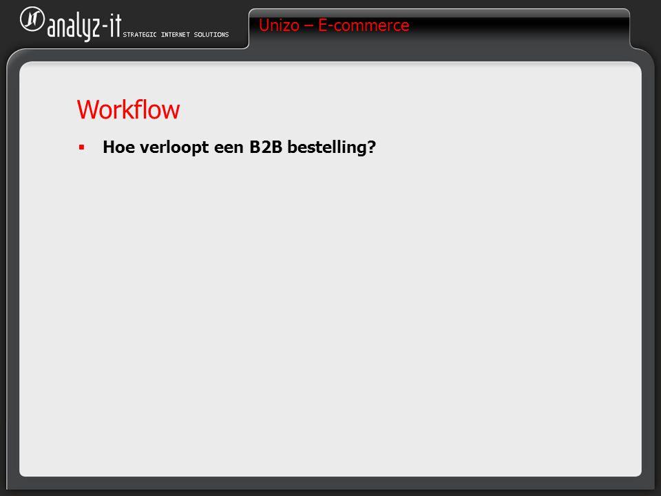 Unizo – E-commerce Workflow  Hoe verloopt een B2B bestelling?