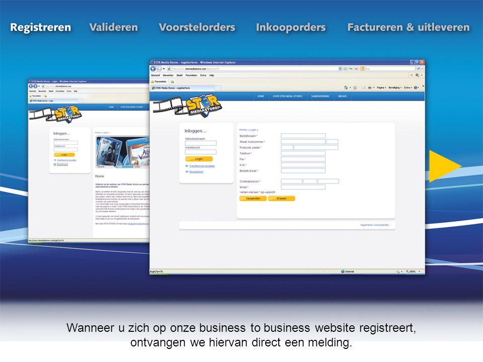 Wanneer u zich op onze business to business website registreert, ontvangen we hiervan direct een melding.