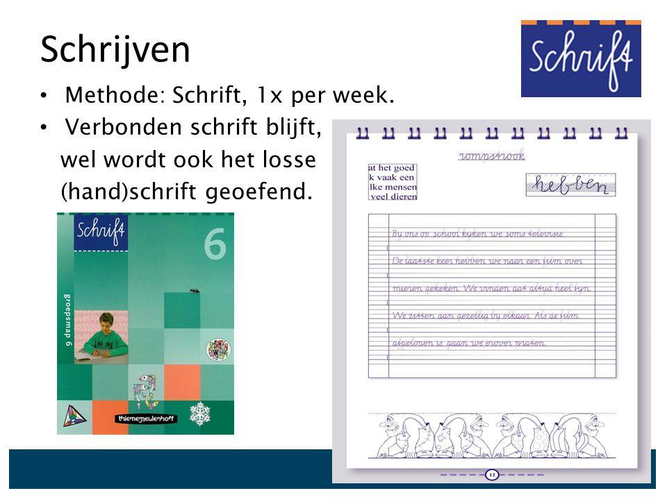 Schrijven Methode: Schrift, 1x per week. Verbonden schrift blijft, wel wordt ook het losse (hand)schrift geoefend.