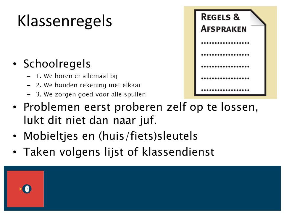 Klassenregels Schoolregels – 1. We horen er allemaal bij – 2. We houden rekening met elkaar – 3. We zorgen goed voor alle spullen Problemen eerst prob