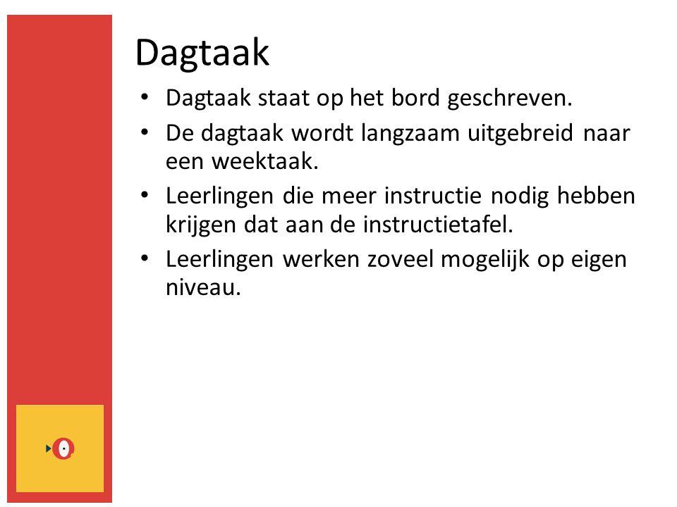Dagtaak Dagtaak staat op het bord geschreven. De dagtaak wordt langzaam uitgebreid naar een weektaak. Leerlingen die meer instructie nodig hebben krij