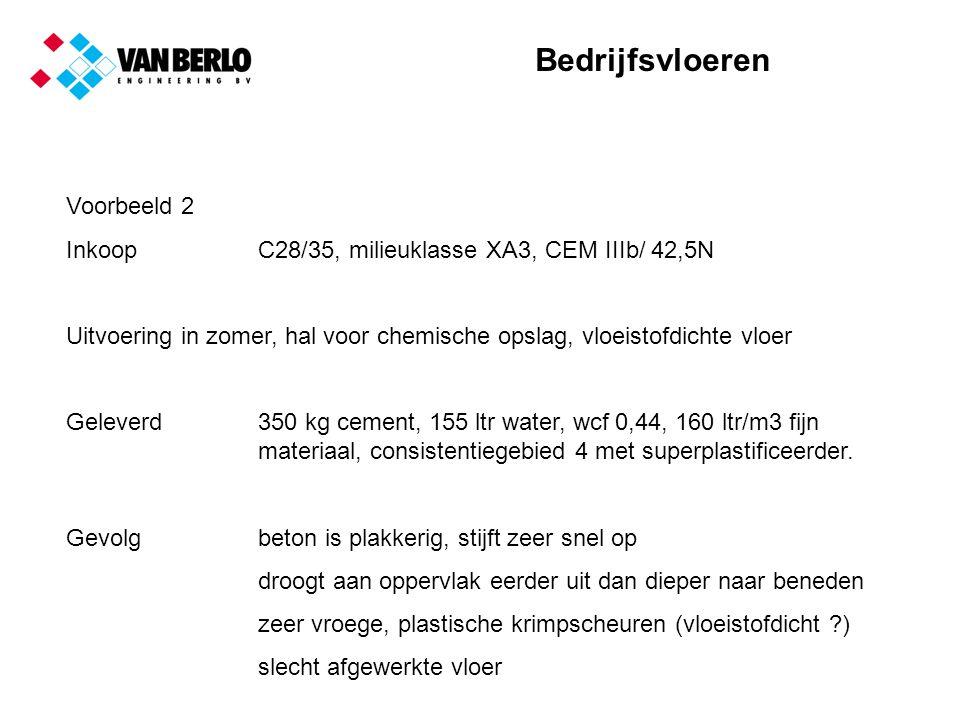 Bedrijfsvloeren Voorbeeld 2 InkoopC28/35, milieuklasse XA3, CEM IIIb/ 42,5N Uitvoering in zomer, hal voor chemische opslag, vloeistofdichte vloer Geleverd350 kg cement, 155 ltr water, wcf 0,44, 160 ltr/m3 fijn materiaal, consistentiegebied 4 met superplastificeerder.