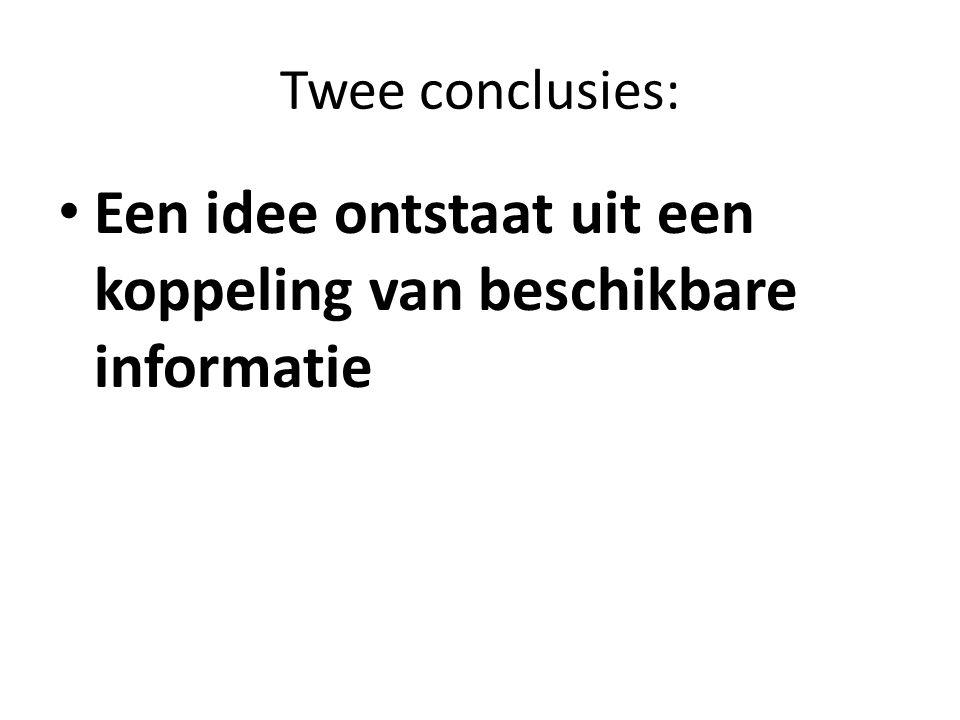 Twee conclusies: Een idee ontstaat uit een koppeling van beschikbare informatie