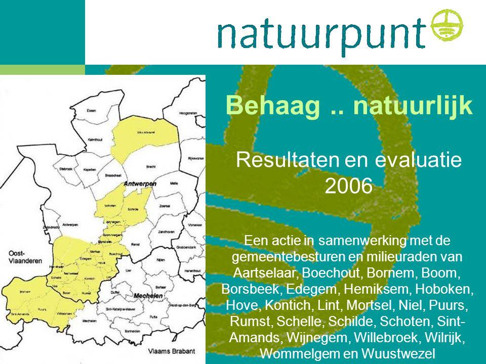 Behaag.. natuurlijk Resultaten en evaluatie 2006 Een actie in samenwerking met de gemeentebesturen en milieuraden van Aartselaar, Boechout, Bornem, Bo