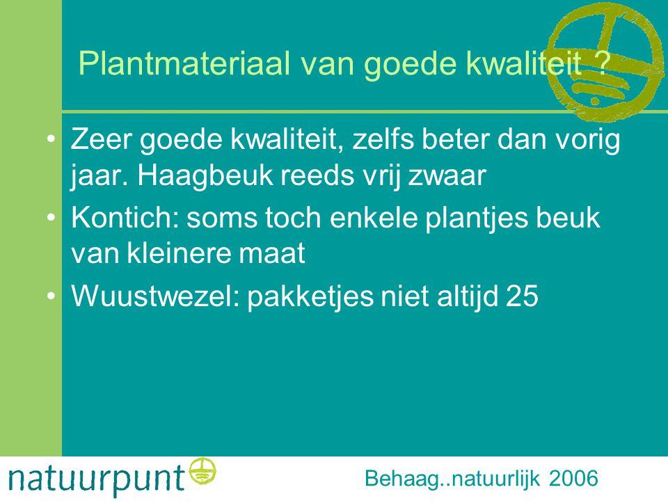 Behaag..natuurlijk 2006 Plantmateriaal van goede kwaliteit ? Zeer goede kwaliteit, zelfs beter dan vorig jaar. Haagbeuk reeds vrij zwaar Kontich: soms