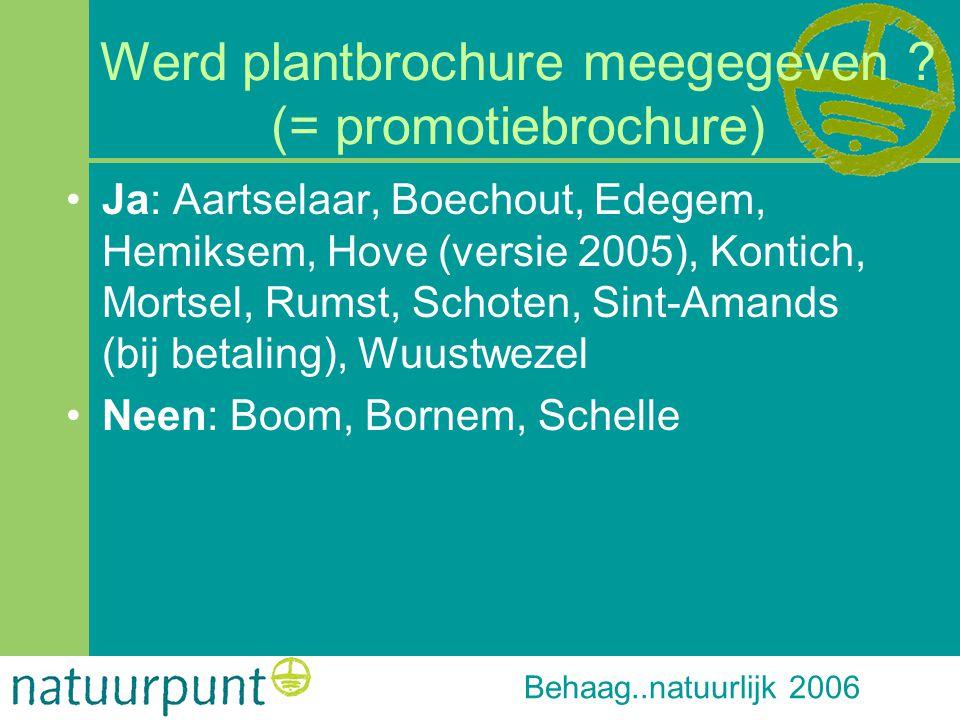 Behaag..natuurlijk 2006 Werd plantbrochure meegegeven ? (= promotiebrochure) Ja: Aartselaar, Boechout, Edegem, Hemiksem, Hove (versie 2005), Kontich,