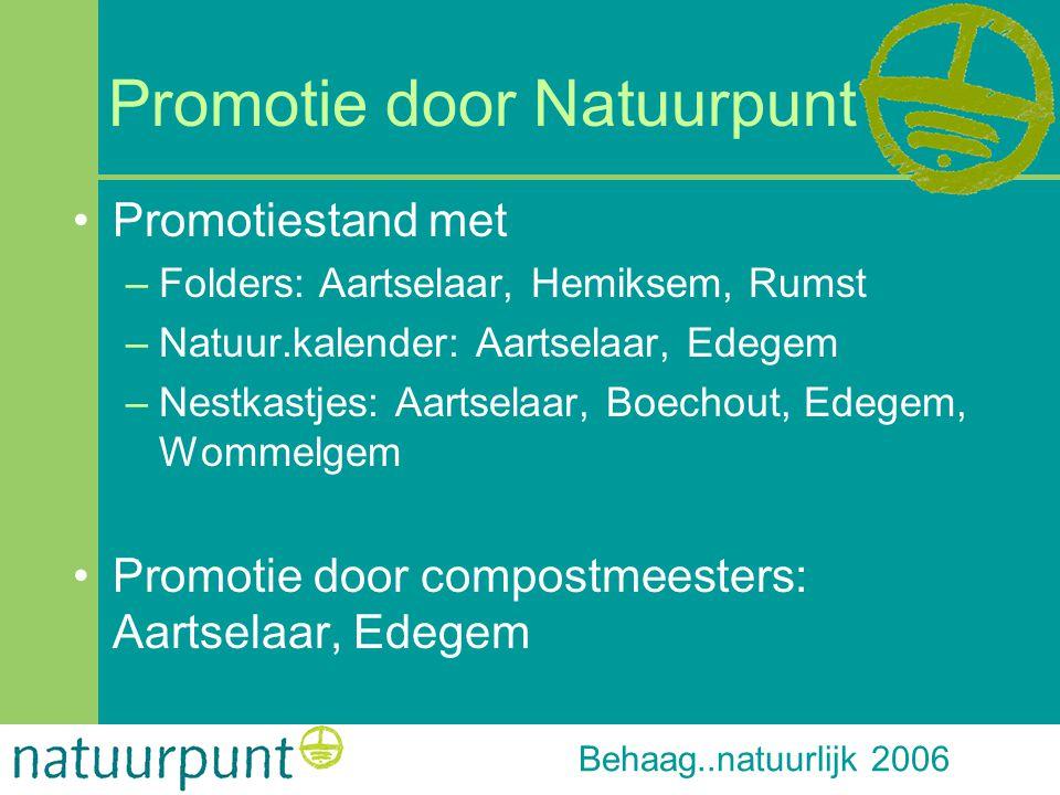 Behaag..natuurlijk 2006 Promotie door Natuurpunt Promotiestand met –Folders: Aartselaar, Hemiksem, Rumst –Natuur.kalender: Aartselaar, Edegem –Nestkas