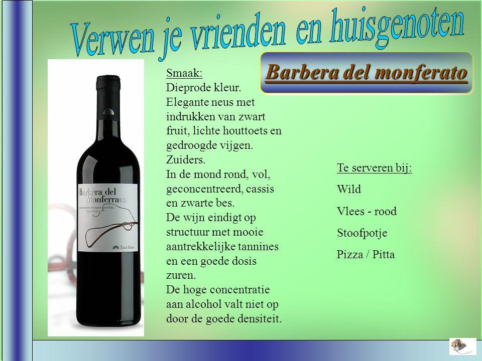 Smaak: Een roodviolet gekleurde wijn die fris en aromatisch is.