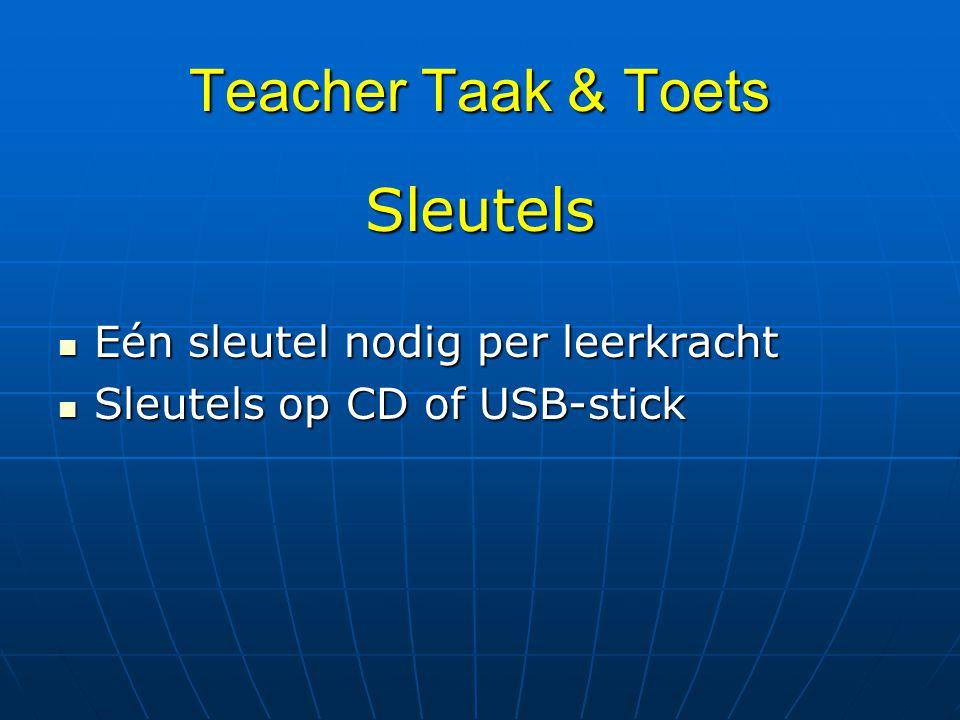 Teacher Taak & Toets Sleutels Eén sleutel nodig per leerkracht Eén sleutel nodig per leerkracht Sleutels op CD of USB-stick Sleutels op CD of USB-stic