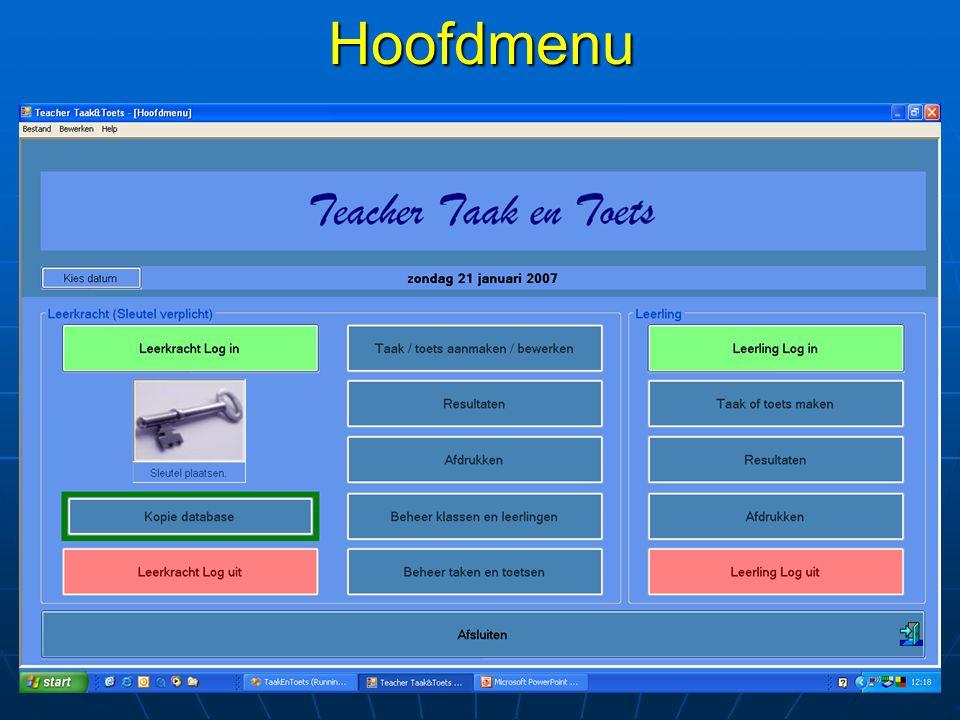Leerkracht: beheer taken en toetsen Mogelijkheden: taak/toets Hernummeren Hernummeren Kopiëren Kopiëren Importeren en exporteren Importeren en exporteren Mappen figuren/audio/video opruimen Mappen figuren/audio/video opruimen Verwijderen Verwijderen