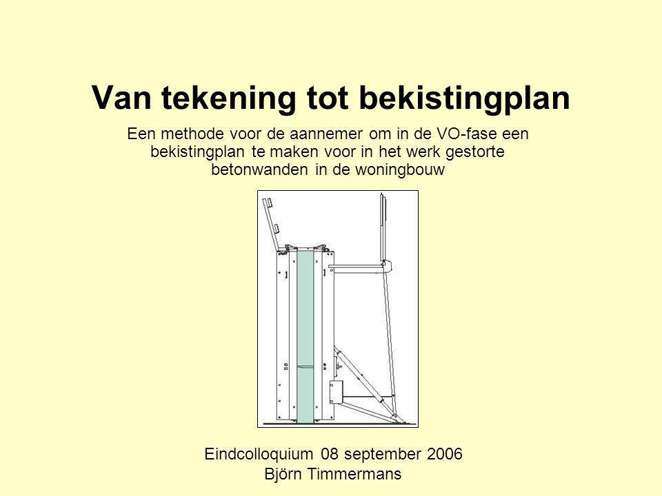Van tekening tot bekistingplan Een methode voor de aannemer om in de VO-fase een bekistingplan te maken voor in het werk gestorte betonwanden in de woningbouw Eindcolloquium 08 september 2006 Björn Timmermans
