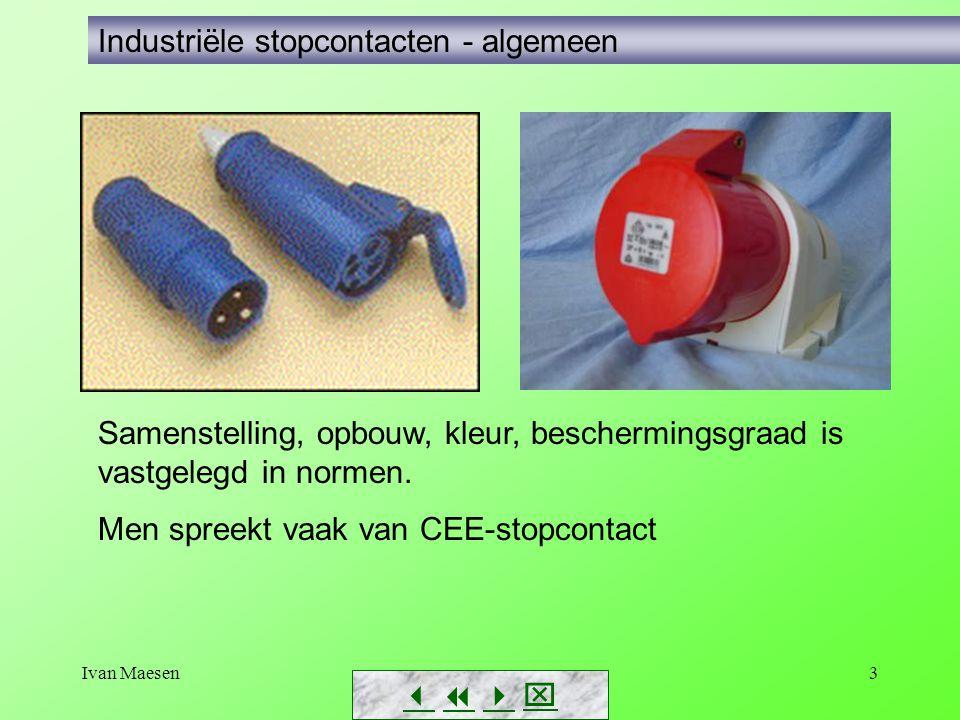 Ivan Maesen3        Industriële stopcontacten - algemeen Samenstelling, opbouw, kleur, beschermingsgraad is vastgelegd in normen. Men spreekt