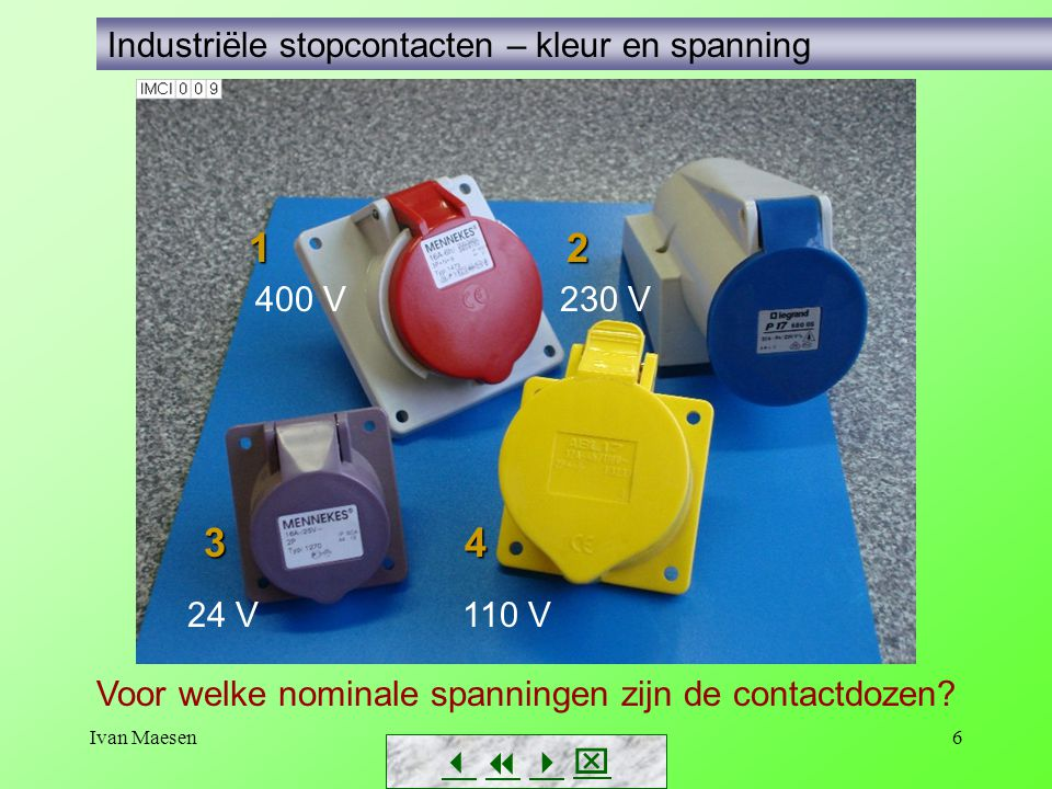 Ivan Maesen6        Industriële stopcontacten – kleur en spanning 1 2 1 2 3 4 400 V 230 V 24 V 110 V Voor welke nominale spanningen zijn de co