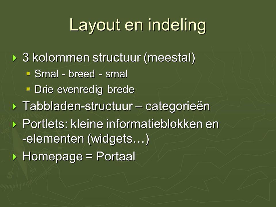 Layout en indeling  3 kolommen structuur (meestal)  Smal - breed - smal  Drie evenredig brede  Tabbladen-structuur – categorieën  Portlets: kleine informatieblokken en -elementen (widgets…)  Homepage = Portaal