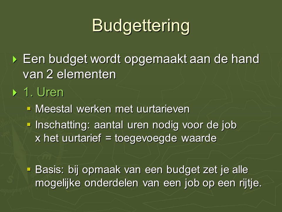 Budgettering  Een budget wordt opgemaakt aan de hand van 2 elementen  1.