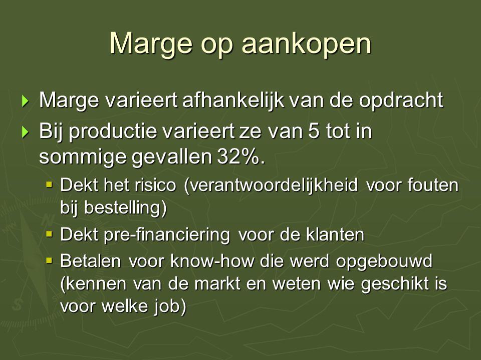 Marge op aankopen  Marge varieert afhankelijk van de opdracht  Bij productie varieert ze van 5 tot in sommige gevallen 32%.