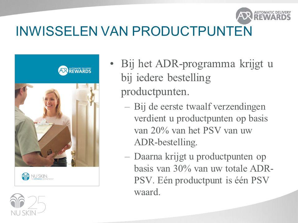 INWISSELEN VAN PRODUCTPUNTEN Bij het ADR-programma krijgt u bij iedere bestelling productpunten.