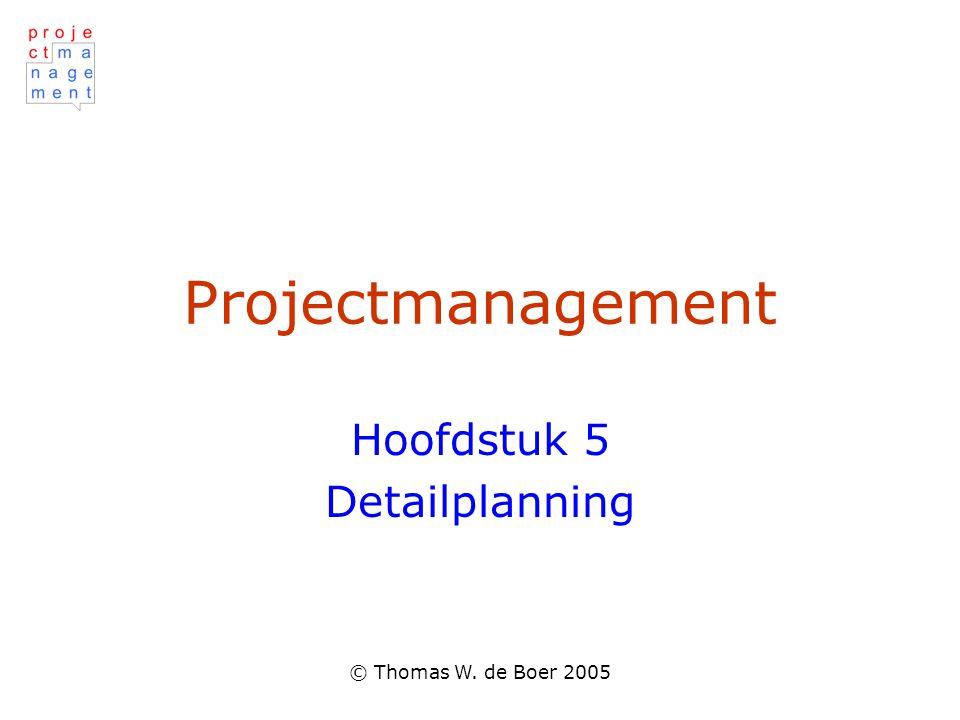 © Thomas W. de Boer 2005 Projectmanagement Hoofdstuk 5 Detailplanning