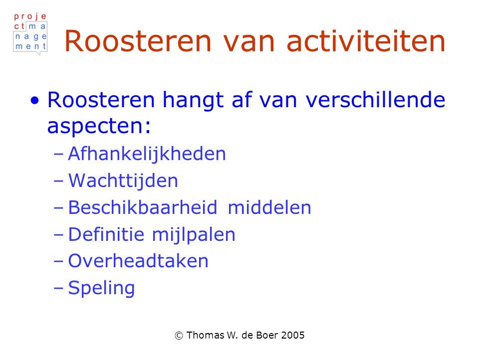 © Thomas W. de Boer 2005 Roosteren van activiteiten Roosteren hangt af van verschillende aspecten: –Afhankelijkheden –Wachttijden –Beschikbaarheid mid