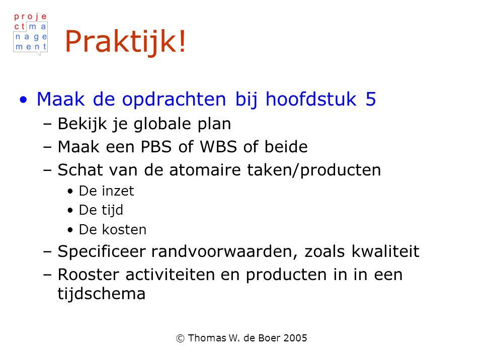 © Thomas W. de Boer 2005 Praktijk! Maak de opdrachten bij hoofdstuk 5 –Bekijk je globale plan –Maak een PBS of WBS of beide –Schat van de atomaire tak