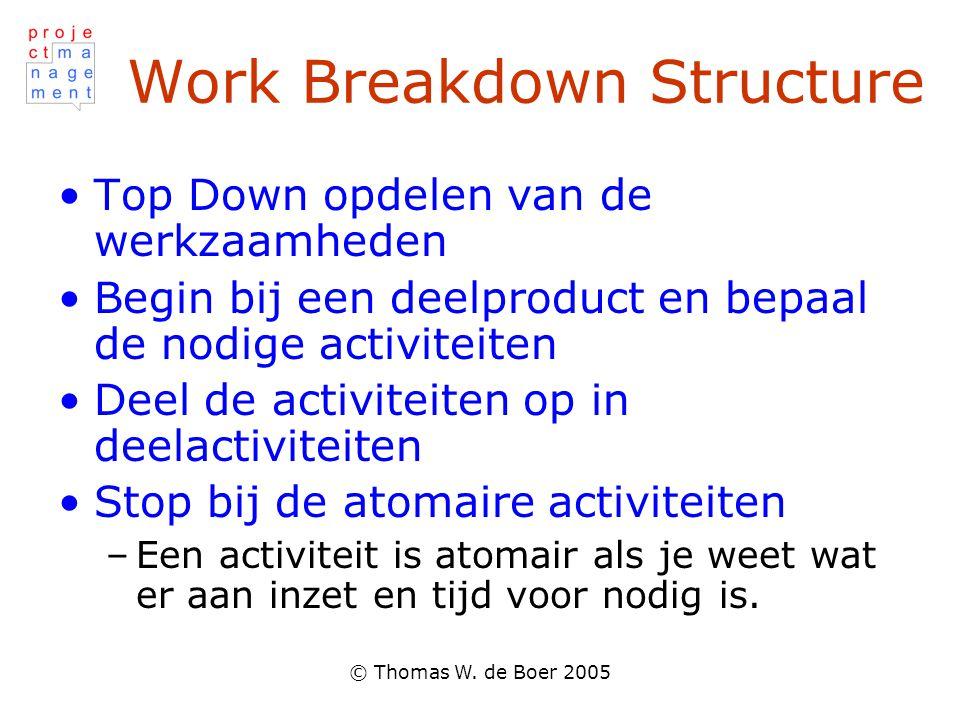 © Thomas W. de Boer 2005 Work Breakdown Structure Top Down opdelen van de werkzaamheden Begin bij een deelproduct en bepaal de nodige activiteiten Dee