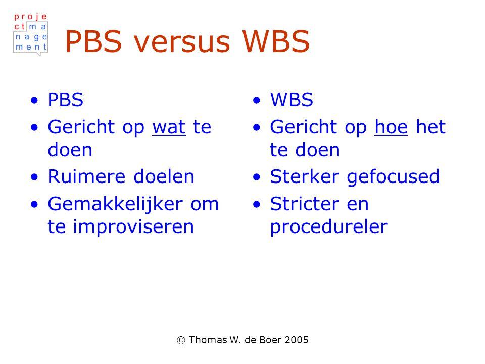 © Thomas W. de Boer 2005 PBS versus WBS PBS Gericht op wat te doen Ruimere doelen Gemakkelijker om te improviseren WBS Gericht op hoe het te doen Ster