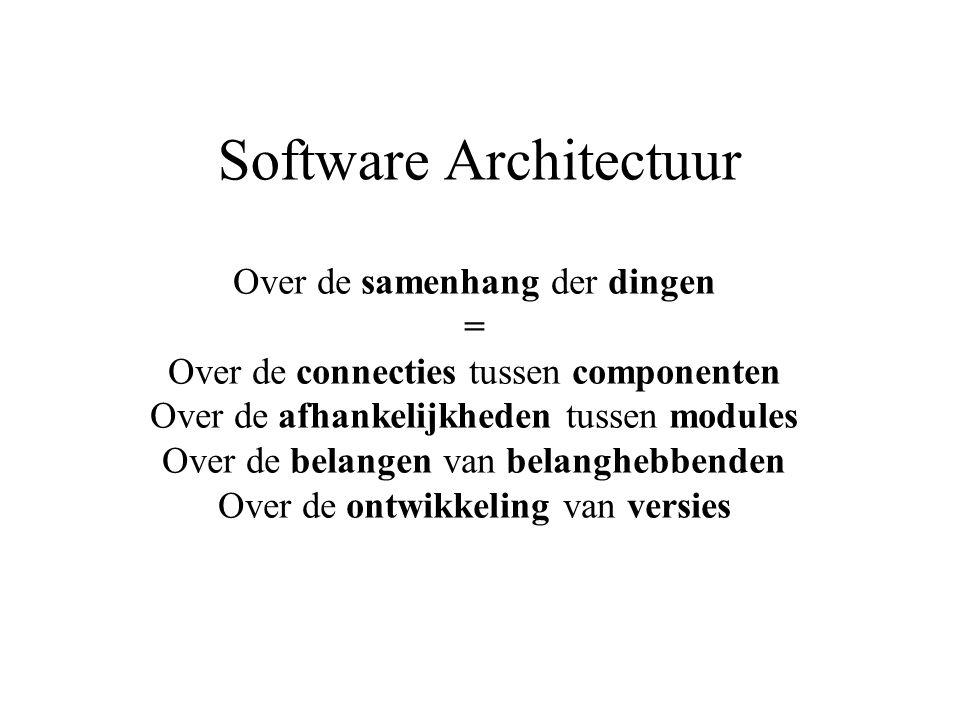 Software Architectuur Over de samenhang der dingen = Over de connecties tussen componenten Over de afhankelijkheden tussen modules Over de belangen van belanghebbenden Over de ontwikkeling van versies