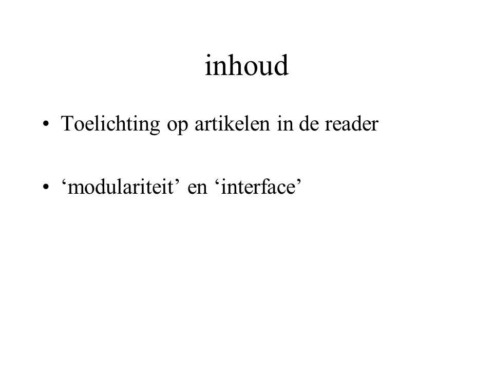 inhoud Toelichting op artikelen in de reader 'modulariteit' en 'interface'