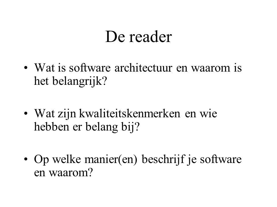 De reader Wat is software architectuur en waarom is het belangrijk.