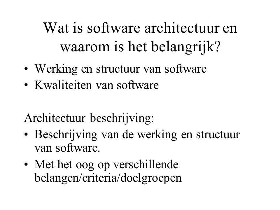 Wat is software architectuur en waarom is het belangrijk.