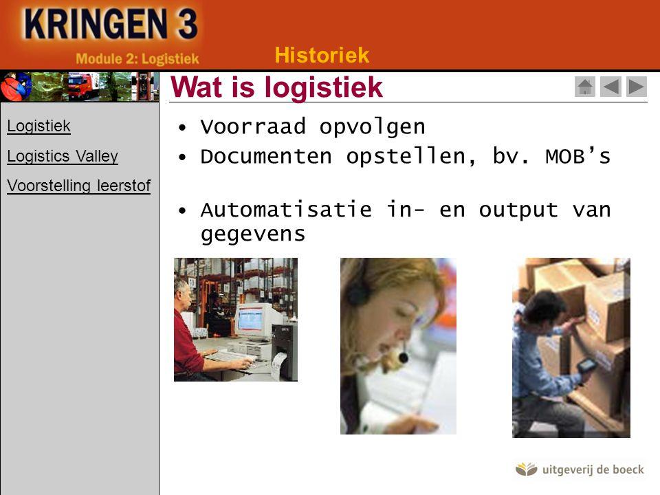 Historiek Keuze voor Vlaanderen: Centrale ligging Zeer goede verkeersinfrastructuur Logistics Valley Logistiek Logistics Valley Voorstelling leerstof