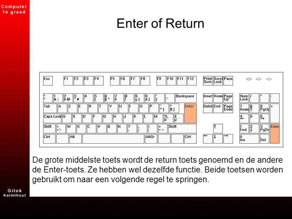 Enter of Return De grote middelste toets wordt de return toets genoemd en de andere de Enter-toets. Ze hebben wel dezelfde functie. Beide toetsen word