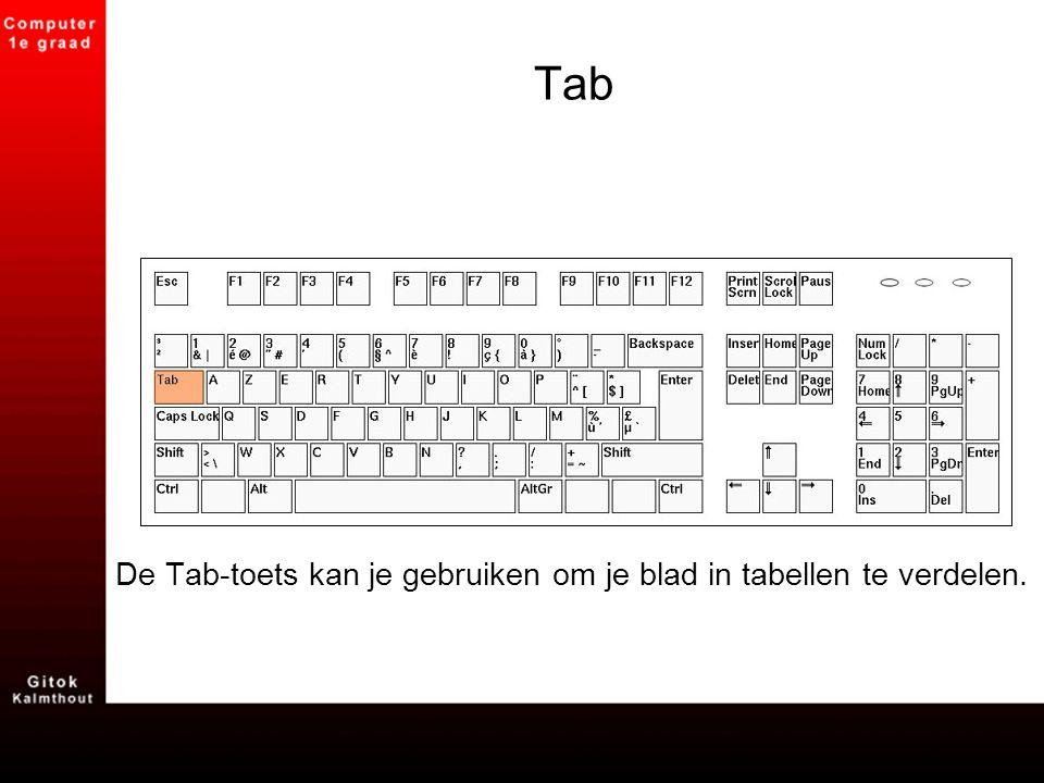Tab De Tab-toets kan je gebruiken om je blad in tabellen te verdelen.