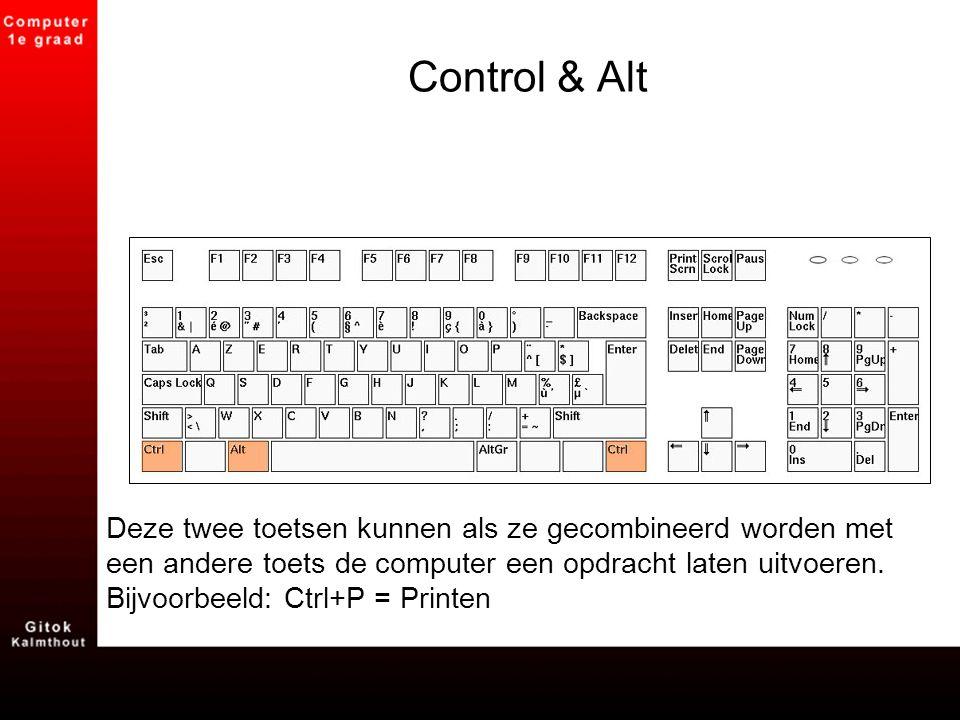 Control & Alt Deze twee toetsen kunnen als ze gecombineerd worden met een andere toets de computer een opdracht laten uitvoeren. Bijvoorbeeld: Ctrl+P